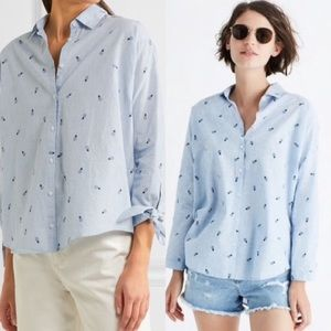 Madewell XS Pineapple Chambray Blouse Tie Sleeves